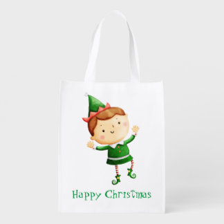 Cute Christmas Elf Reusable Grocery Bag
