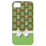 cute christmas elves santas helpers owl pattern iPhone 5 case