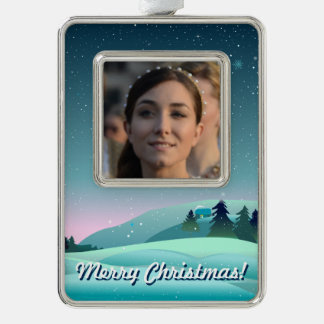 Cute Christmas Eve Scene With Your Own Photo Ornament