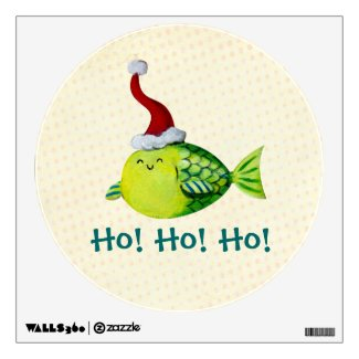 Cute Christmas Fish Room Decal
