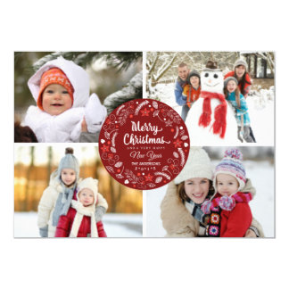 CUTE CHRISTMAS FLORAL WREATH PHOTO COLLAGE 5X7 PAPER INVITATION CARD