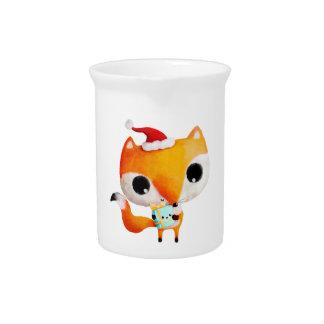 Cute Christmas Fox Beverage Pitcher