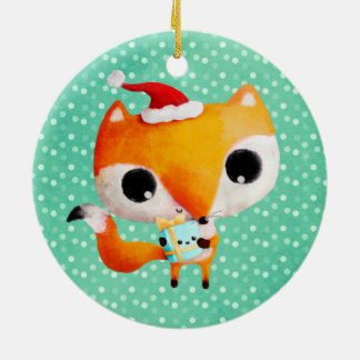 Cute Christmas Fox Ceramic Ornament