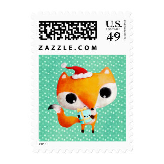 Cute Christmas Fox Postage Stamps