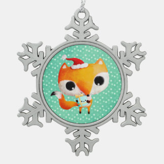 Cute Christmas Fox Snowflake Pewter Christmas Ornament
