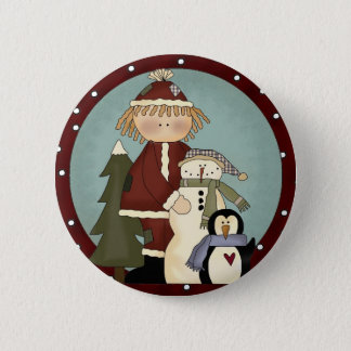 Cute Christmas Friends Pinback Button
