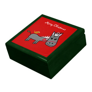 Cute Christmas gift box with cartoon donkey