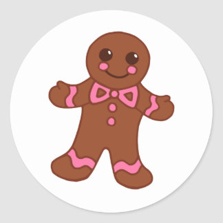 Cute Christmas Gingerbread Boy Cookie Stickers