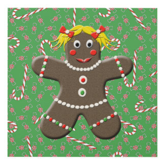 Cute Christmas Gingerbread Cookie Girl Panel Wall Art