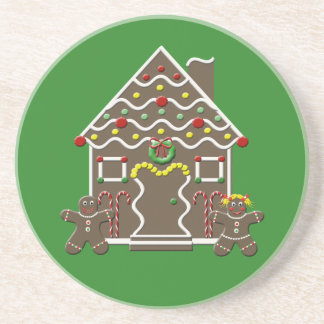 Cute Christmas Gingerbread House Beverage Coaster