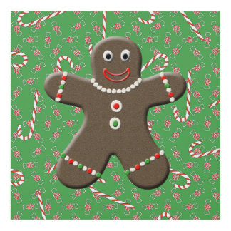 Cute Christmas Gingerbread Man Cookie Panel Wall Art