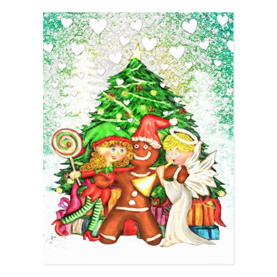 Cute Christmas Gingerbread man & friends postcards