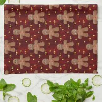 Cute Christmas Gingerbread Man Kitchen Towel
