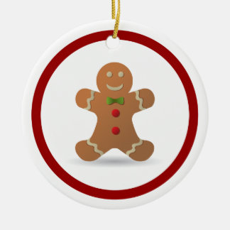 Cute Christmas Gingerbread Man Personalized Double-Sided Ceramic Round Christmas Ornament