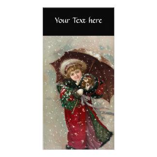 Cute Christmas Girl in snow Card