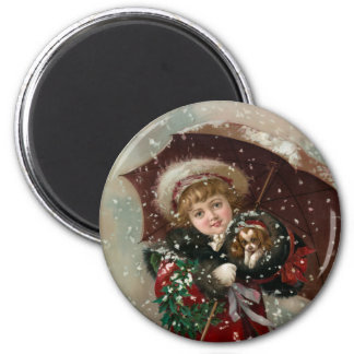 Cute Christmas Girl in snow Magnet
