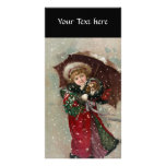 Cute Christmas Girl in snow Photo Greeting Card