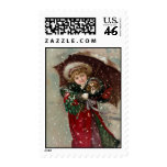 Cute Christmas Girl in snow Postage