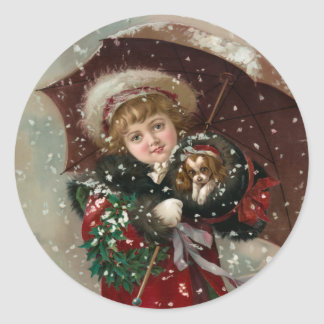 Cute Christmas Girl in snow Sticker