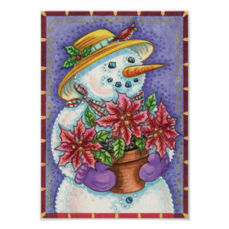 Cute Christmas Girl Snowman with Poinsettia Poster
