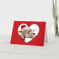 Cute Christmas Goat Couple Holiday Card
