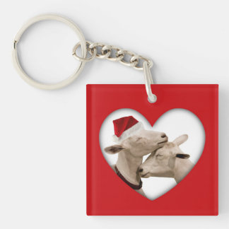 Cute Christmas Goat Couple Keychain