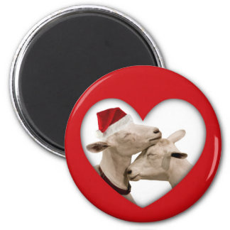 Cute Christmas Goat Couple 2 Inch Round Magnet