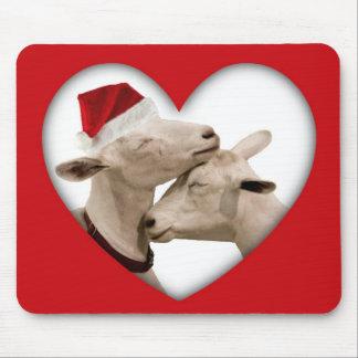 Cute Christmas Goat Couple Mouse Pad