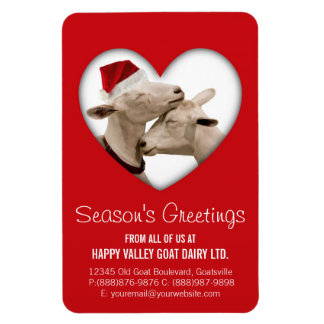 Cute Christmas Goat Couple Rectangular Photo Magnet