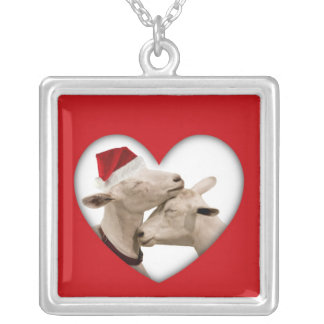 Cute Christmas Goat Couple Silver Plated Necklace