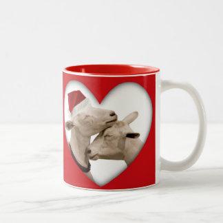 Cute Christmas Goat Couple Two-Tone Coffee Mug