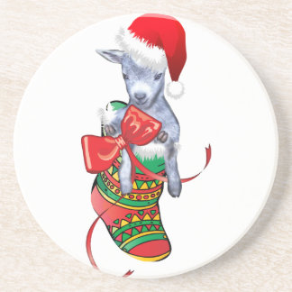 Cute Christmas Goat Sandstone Coaster