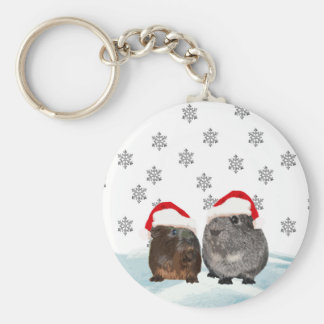 Cute Christmas Guinea pigs in Santa Hats Keychain