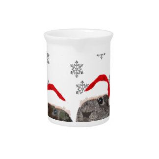 Cute Christmas Guinea pigs in Santa Hats Pitcher