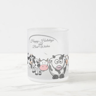 Cute Christmas Happy Holiday Cows Frosted Glass Coffee Mug