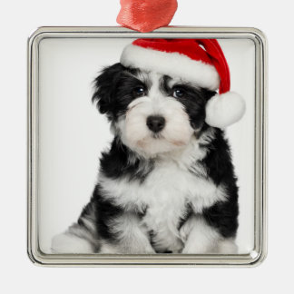 Cute Christmas Havanese Puppy Dog 2 Metal Ornament