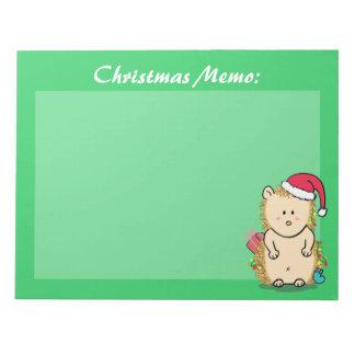 Cute Christmas Hedgehog Party Favor Notepad