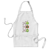 Cute Christmas Ho Ho Ho, Candy Canes Ornaments Adult Apron
