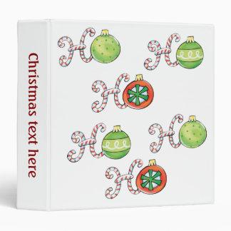 Cute Christmas Ho Ho Ho, Candy Canes Ornaments 3 Ring Binder