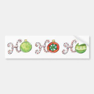 Cute Christmas Ho Ho Ho, Candy Canes Ornaments Car Bumper Sticker