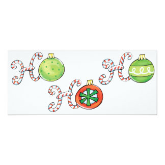 Cute Christmas Ho Ho Ho, Candy Canes Ornaments Card