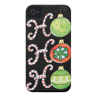 Cute Christmas Ho Ho Ho, Candy Canes Ornaments iPhone 4 Case-Mate Case