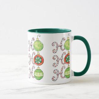 Cute Christmas Ho Ho Ho, Candy Canes Ornaments Mug