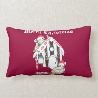 Cute Christmas Holiday Beaver Chalet Lumbar Pillow
