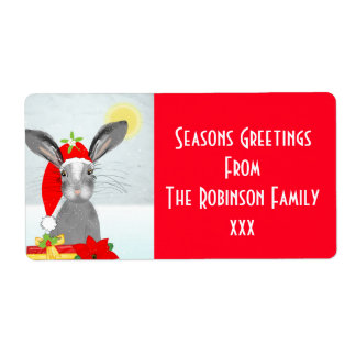 Cute Christmas Holiday Bunny Rabbit Editable Label