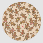 Cute Christmas Holiday Gingerbread Men Cookies Classic Round Sticker