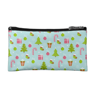 Cute Christmas Holiday Pattern Makeup Bags