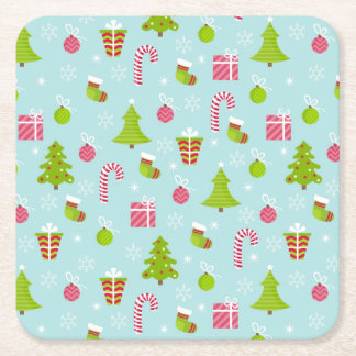 Cute Christmas Holiday Pattern Square Paper Coaster
