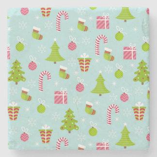 Cute Christmas Holiday Pattern Stone Coaster
