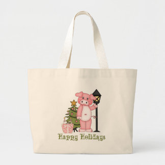 Cute Christmas Holiday Pig Tees and Gifts Tote Bags